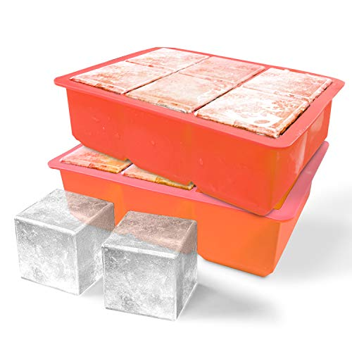 Ice Cube Trays Silicone,Silica gel ice tray, large ice mold, 6-chamber ice mold, for whiskey, beverage, cocktail, keep beverage cool (Red-2pack) ()