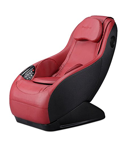 Burgundy Massage Curved Video Gaming Massage Chair Wireless Bluetooth Audio Long (Smart Rail Spa)
