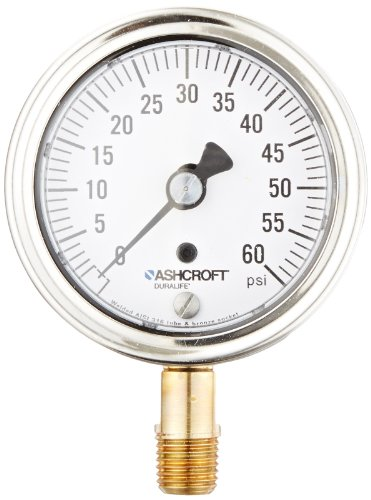 Ashcroft Duralife Type 1009 Stainless Steel Case Dry Filled Pressure Gauge, Stainless Steel Tube and Bronze Socket, Hermetic Seal, 2.5' Dial Size, 1/4' NPT Lower Connection, 0/60 psi Pressure Range