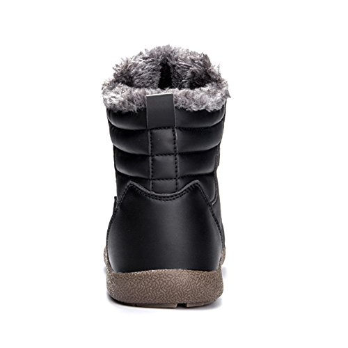Stringate Caldo Uomo Sneaker Caviglia Neve Boots Stivaletti Stivali Pelliccia Top Scarpe Pelle Invernali Nero Donna Impermeabile High H8Wqqzv