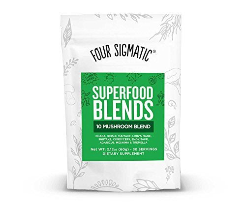 - Four Sigmatic 10 Mushroom Blend - Lions Mane, Reishi, Cordyceps, Chaga, Enoki, Maitake, Shiitake, Tremella, Meshima, Agaricus Blazei, dual-extracts, 60 gram, 30 servings