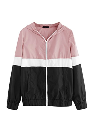 Floerns Women's Color Block Hooded Casual Thin Windbreaker Jacket Black Pink XL