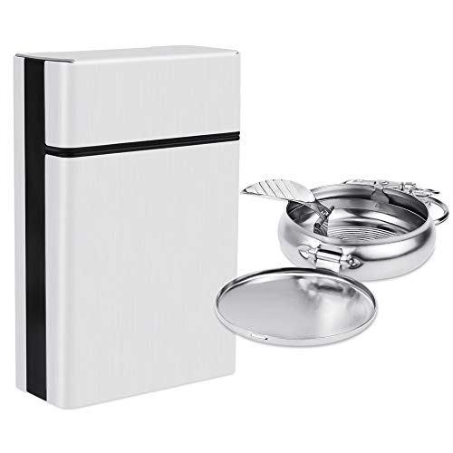 (Hysagtek Aluminum Cigarette Case Hard Box Holder and Mini Portable Ashtray with Keychain for Smokers, Silver)