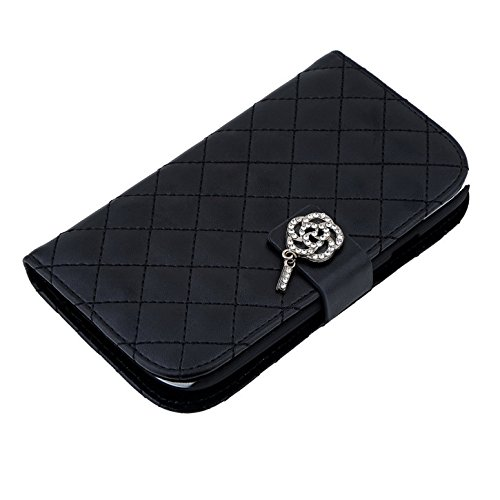 Luxury Lambskin 3D Bling Crystal Diamond PU Leather Wallet Chain Card Holder Flip Case Cover For Smart Mobile Phones (Black , Nokia Lumia 630 635)