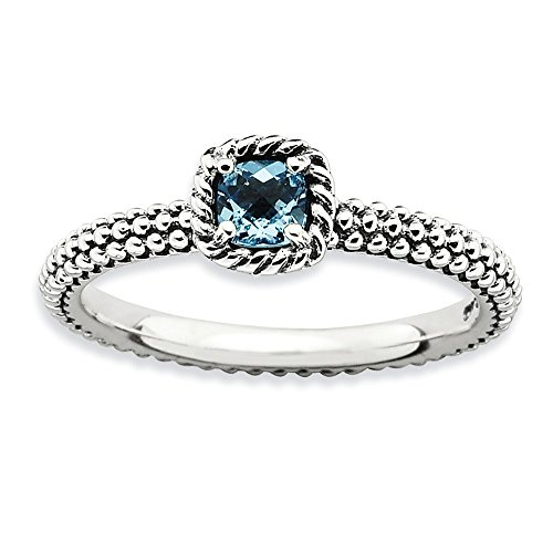 Blue Topaz Milgrain Ring - Antiqued Sterling Silver Stackable Blue Topaz Ring, Size 9