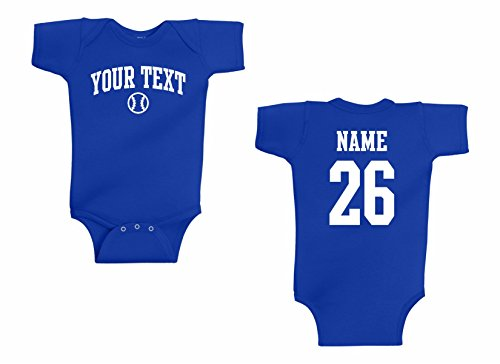 Baby Onesie Baseball - Infant Onesie Custom Personalized, Baseball Arched Text, Back Name & Number