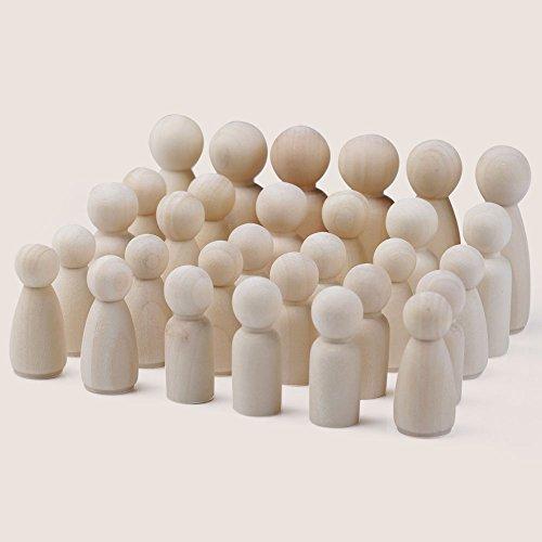 CLAKION 30Pcs Female Male Wooden People Peg Dolls Figures Wedding Cake Top Decor