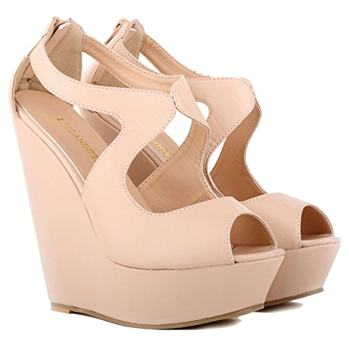 Platform Ankel Womens Sandals Strap Nude Leater Matt Loslandifen Ladies Wedge Yng66