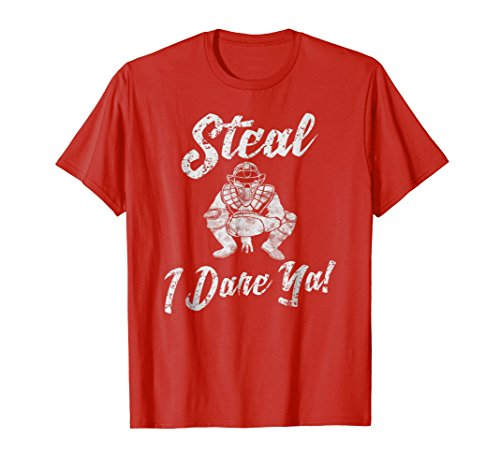 Mens Steal I Dare Ya Baseball Softball Catcher T Shirt XL Red