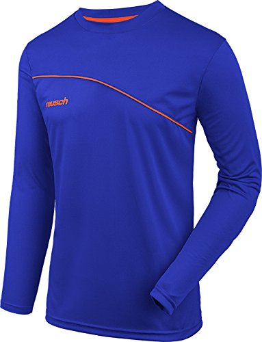 Reusch Soccer Match Prime Padded Long Sleeve Goalkeeper Jersey, Blue/Orange, Adult Medium