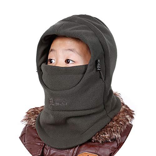Azarxis Kids Children's Balaclava Hat Fleece Ski Face Mask Winter Cap Adjustable Double Neck Warmer (Army Green) ()