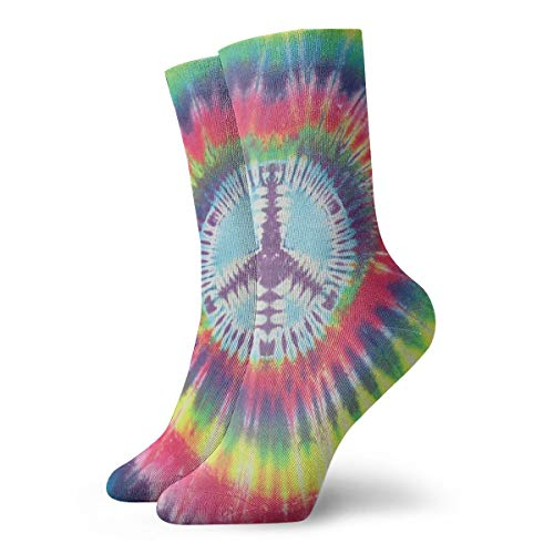 WEEDKEYCAT No War Peace Sign Tie Dye Adult Short Socks Cotton Classic Socks for Mens Womens Yoga Hiking Cycling Running Soccer Sports (For Knee Tie Socks Men High Dye)