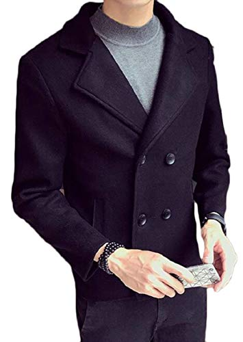 Breasted Jacket Coat Mens security Sleeve Wool Long 2 Blend Blazer Double Classic vXnqnRxCz