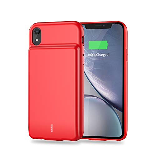 (JO+ Battery Case for iPhone XR, 5000mAh Rechargeable Power Bank Protective Charging Case, Ultra Slim External Portable Backup Charger Case, 6.1 inch (Red))