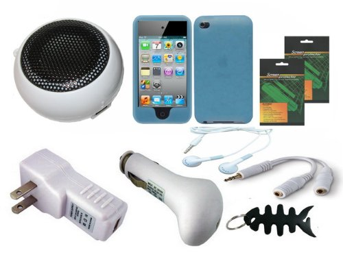 iShoppingdeals - Bundle Accessories for Apple iPod Touch 4G 4th Generation: USB Car Charger, USB Wall Charger, White Mini Speaker, Stereo Headset, Earphone Splitter, Blue Skin Cover Case, Screen Protector, and Smart Headphone Wrap
