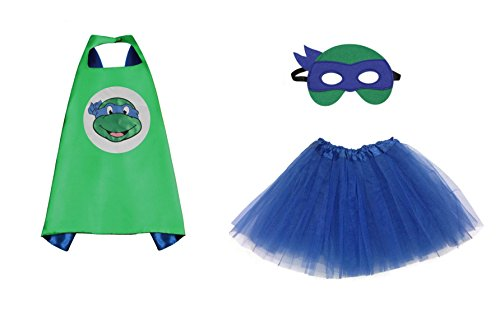 Rush Dance Kids Children's Deluxe Comics Super Hero CAPE & MASK & TUTU Costume (TMNT Leonardo (Royal Blue (Ninja Turtle Blue)