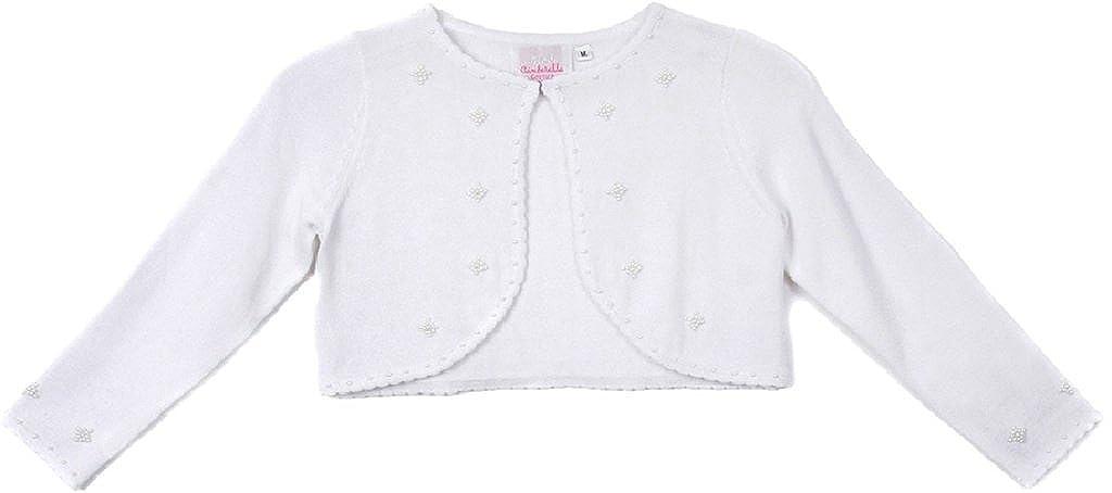 BluNight Collection Little Girls Pearl Embellishments Flower Girls Knit Cotton Bolero