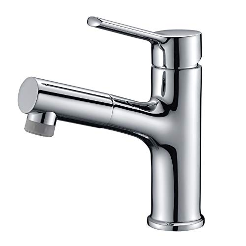 Bathroom Faucet, Pull Out Bathroom Sink Faucet in Chrome, Single Lever Bathroom Faucet