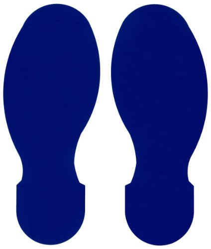 Brady ToughStripe Nonabrasive Footprints Floor Marking Tape, 10' Length, 3-1/2' Width, Blue (Pack of 10 Per Roll)