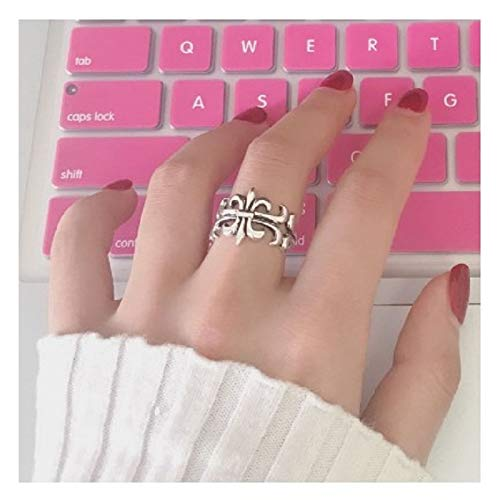 Pure Thai Silver Vintage Rings Women Women Gift Mix Match Trend Cross-Punk Personality Men Women Opening Index Finger Ring (Grand Cross ()