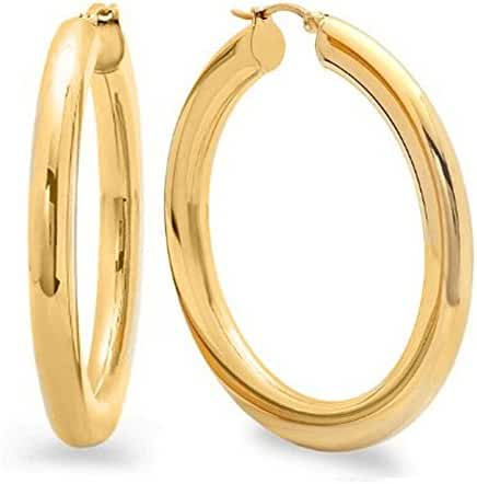 2 Inches Wide Stainless Steel Yellow Hoop Earrings For Women (50mm Diameter)