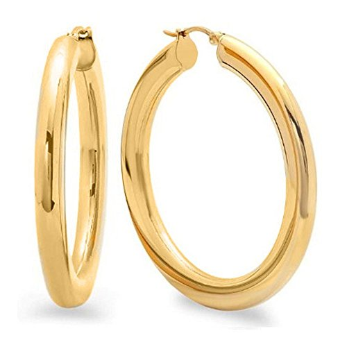 2 Inches Wide Stainless Steel Yellow Hoop Earrings