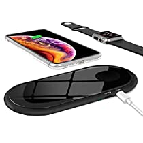 Dual Fast Wireless Charger, ZealSound 10W/7.5W/5W 3 Mode Dual Two Fast Charging Pad Mat Wireless Charger Tempered Glass Metal with Power Off Protection for Qi Enabled Watch and Phones (Black)