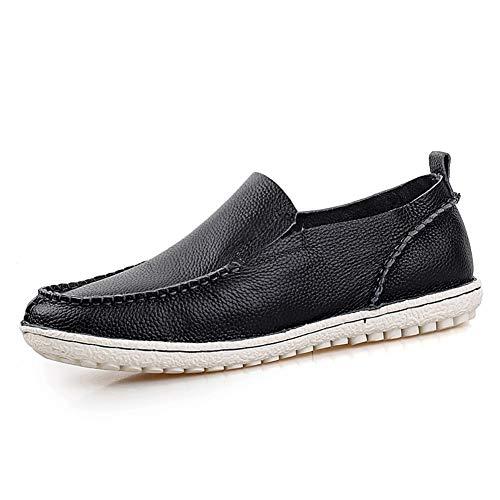 Noir 44 EU EGS-chaussures Conduisant Mocassins pour Hommes Oxfords Plat Penny Chaussures Doux en Cuir Véritable sur Glisser à La Main Léger Chaussures de Cricket (Couleur   Noir, Taille   44 EU)