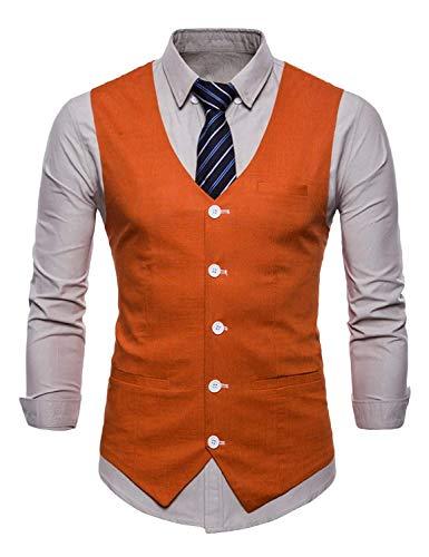 Blazer Jeune Slim Men Gilet Costume Tuxedo Soirée Waistcoa Casual Fit Veste Orange Mariage De vZqBxnz