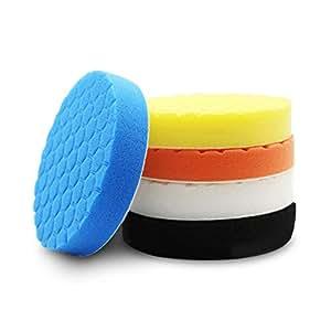 Womdee 5Pcs Buffing Sponge Polishing Pad Kit for Car Sanding, Polishing, Waxing, Sealing Glaze, 5 Colors, 3inch
