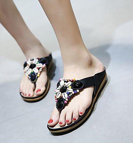 Indoor Piatta Della outdoor Stile Shangxian Boemia Estate Da Black 37 Donna Infradito Pantofola Scarpe Piscina Spiaggia Nuovo red w6pq45p
