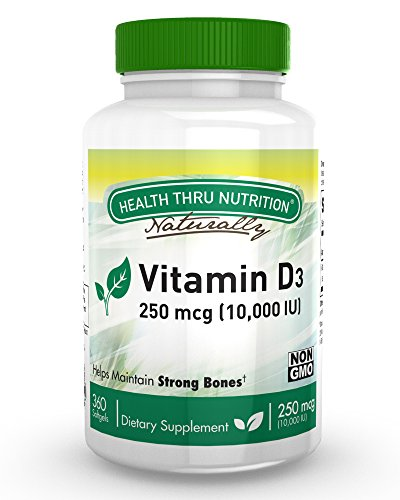 Vitamin D3 10,000 IU Non GMO 360 Mini Softgels (10000 iu cholecalciferol) Soy Free, USP Grade Natural Vitamin D