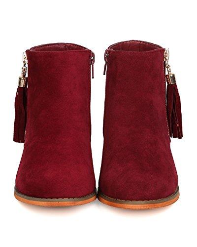 Faux Wine Tasseled Suede Women FD28 Ankle Toe Liliana Boot Round zvPw1EnBq