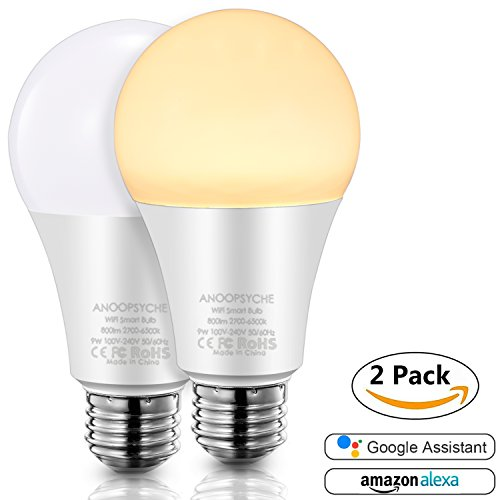 Smart Led Light Bulb, Wi-Fi Smart Bulbs ANOOPSYCHE Dimmable 2700K-6500K Color Changing Daylight White Night Light, No Hub Required, Works with Amazon Alexa and Google Assistant (E26 2 Pack)