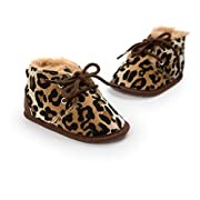 CoKate Baby Girl Boy Anti Slip Sole Thick Snow Boots Shoes Sneaker (5.1 inch/12-18 Months, Leopard)