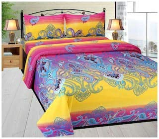 OJASVI BHAV Elastic Fitted Multi Color Pure Cotton Turkish Style 320 TC Fitted King Size Double Bed Sheet with 2 Pillow Covers