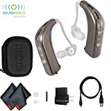 Sound World Solutions White Gold HD100 Sidekick Personal Sound Amplifier (Dual) Includes Carrying Case, Charging Kit and 6ave Cleaning Kit
