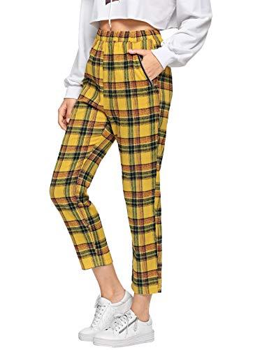 DIDK Women's Plaid Print Pant Yellow M ()