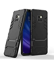 Miagon Kickstand Case for Huawei Mate 20 Pro,Cool Dual Layer Hard PC Back Case with Stand Function Shockproof Full Body Cover,Black