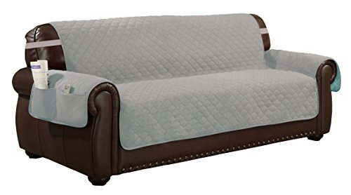 Quick Fit Reversible Waterproof Extra-Slipcover for Sofa Couch Cover with Elastic Buckle, Silver-Black