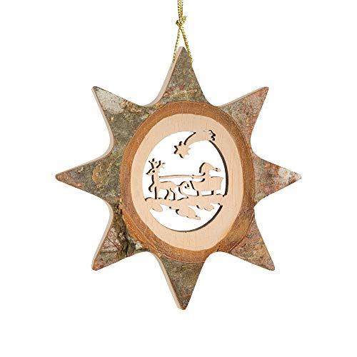 Olde World Imports Bark Star Sleigh Ride Ornament