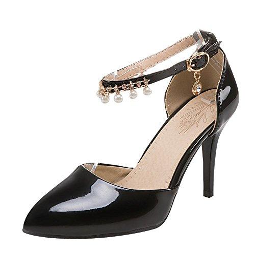 MissSaSa Damen high heel Pointed Toe Pumps mit künstlich Perlen Schwarz
