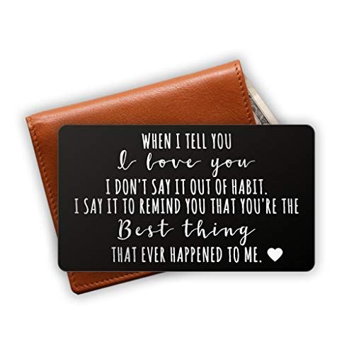 Engraved Stainless Steel Wallet Card Insert - Anniversary Wedding Gift Idea - Unique Mini Love Note for Husband Wife (Black)]()