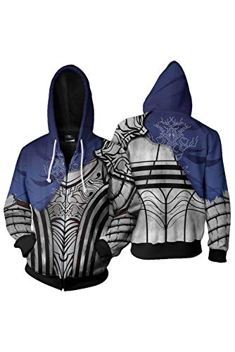 Boomtrader Men's 3D Printing Warrior Knight Artorias Jacket Adult Zip up Hoodie Hooded Sweatshirt Cosplay Costume (M, Black)]()