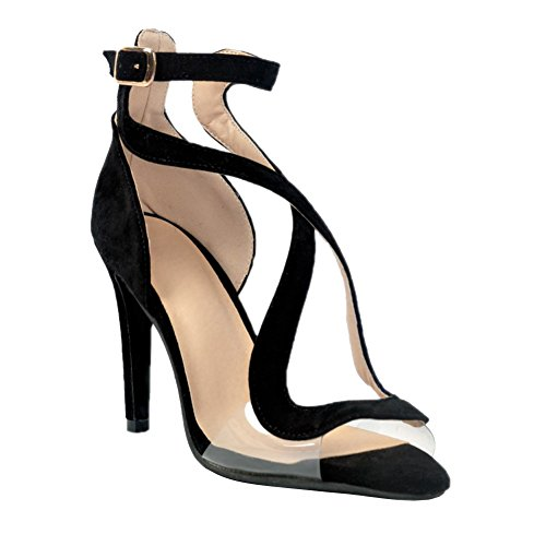 Kolnoo Womens Open-toe Crisscorss Strappy High Heel Ankle Strap Buckle D'Orsay Sandals Stiletto Dress Pumps Black