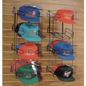 Slatwall Hat Display 4-Tier, Black, - Hat Slatwall
