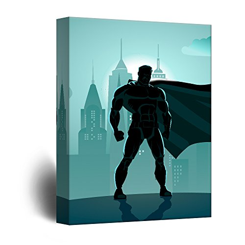 Blue Monochromatic Superhero Comic Strip Pop Art