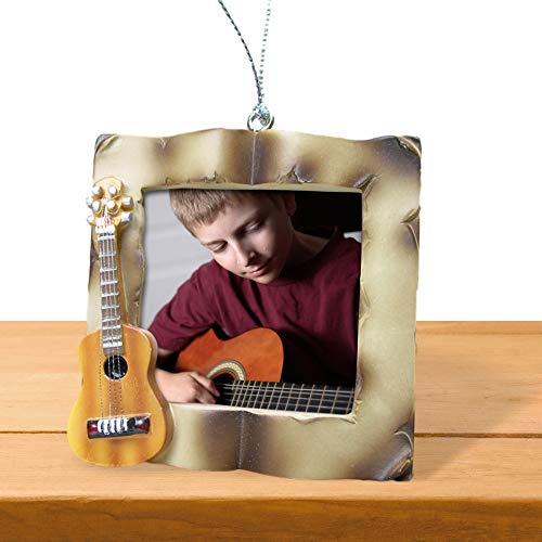 BANBERRY DESIGNS Guitar Desktop Frame - Picture Christmas Ornament for a Guitar Player - Acoustic Guitar Frame- Music Teacher Gifts