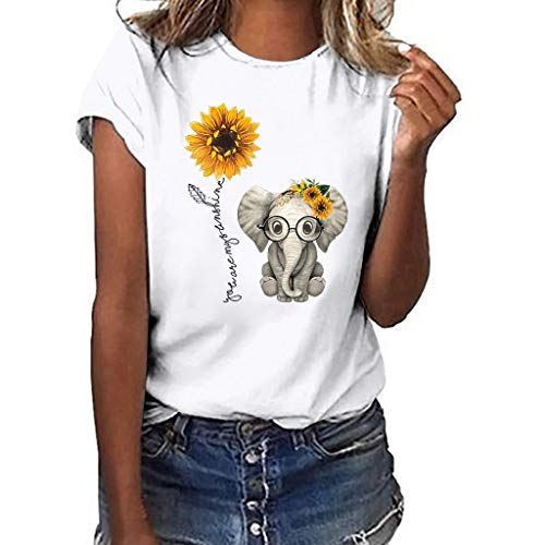 Sunflower Elephant Print Shirt for Women Girls, Huazi2 Short Sleeve Tops Blouse White