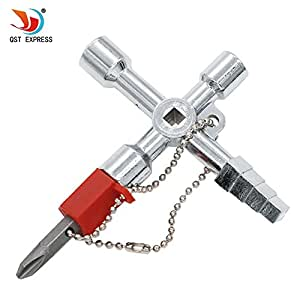 QST 5 in 1 Alloy Triangle/square Key 4 Way Universal Cross Key Wrench for Train Electrical Elevator Cabinet Valve Alloy